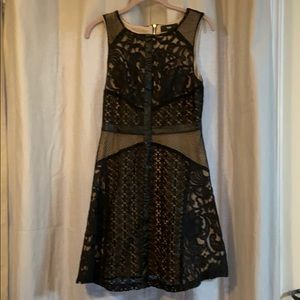 Black Lace Dress with Nude Underlay